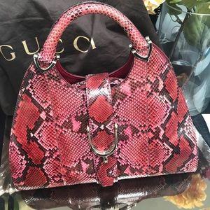NWT Gucci Stirrup Bag Limited Edition Python Red